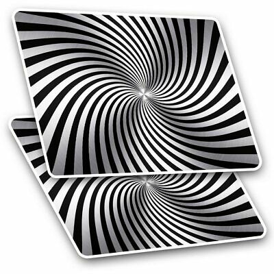 2 X Rectangle Stickers 7.5 Cm - Spiral Illusion Black White Cool Gift #3794 • 1.99£