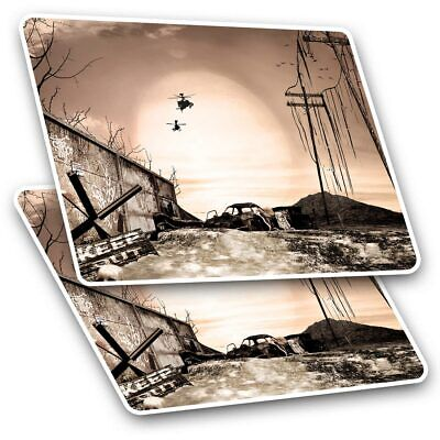 2 X Rectangle Stickers 10 Cm - Apocalyptic BattlefieldHelicopters #14536 • 2.49£