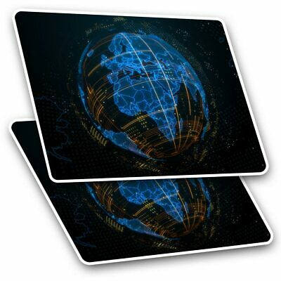 2 X Rectangle Stickers 10 Cm - 3D Abstract Globe Planet Earth #21059 • 2.49£