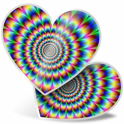 2 X Heart Stickers 7.5 Cm - Psychedelic Pattern Rainbow  #8946 • 2.49£