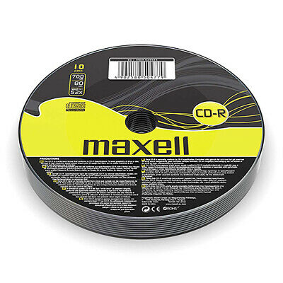 Maxell CD-R | Recordable Blank CD Discs + Sleeves 1/5/10 Pack | 80 Min 52x 700MB • 4.95£