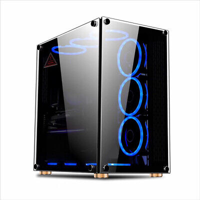 PC GAMING ATX COMPUTER CASE TEMPERED GLASS M/ATX - IONZ KZ09 RGB FAN OPTION • 69.95£