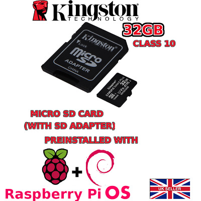 32GB *class10* MICRO SD CARD Pre Installed With Raspberry Pi OS For Raspberry Pi • 10.99£