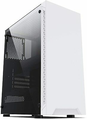 IONZ KZ08 PC COMPUTER CASE ARCTIC WHITE ATX GAMING MID TOWER TEMPERED GLASS  • 33.95£