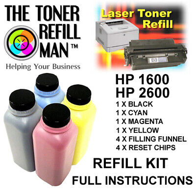 Toner Refill For Use In HP 1600, HP 2600 Printers  BK,C,M,Y Compatible HP 124A • 42.75£