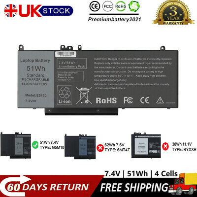 51Wh Battery For Dell Latitude E5450 E5470 E5550 E5570 Laptop 15.6  G5M10 1KY05 • 35.99£