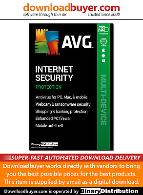 AVG Internet Security 2020 - 10 Device- 1 Year [Download] • 11.99£