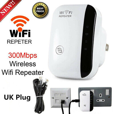 Wireless Wifi Repeater Range Extender Router Signal Booster Amplifier UK Plug • 11.68£