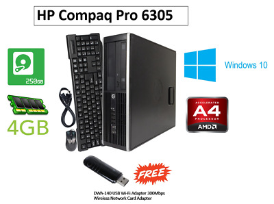 HP Compaq Pro 6305 SFF, AMD A4, 250GB HDD, 4GB RAM Windows 10 WIFI FREE GIFT • 39.99£