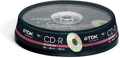 TDK CD-R | Recordable Blank CD Discs In Plastic Sleeves | 52x 80 Min 700MB • 5.99£