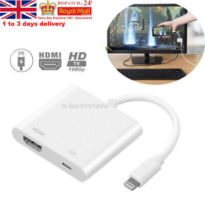 Lightning To HDMI Digital TV AV Adapter Cable For Phone X 8 7 6 Plus XR MAX Hot • 11.99£