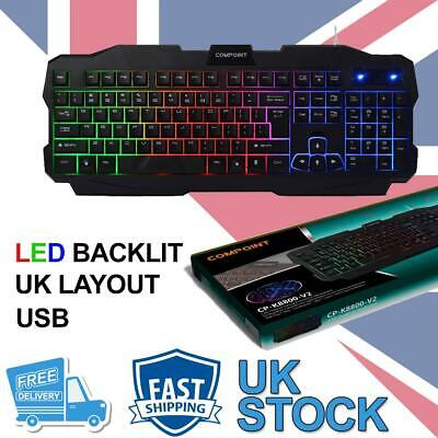 Gaming Keyboard Rainbow LED Wired USB For PC Laptop UK • 11.49£