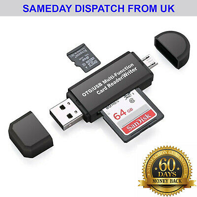 Micro USB OTG To USB 2.0 Adapter SD Card Reader For Android Phone Tablet PC  • 2.85£