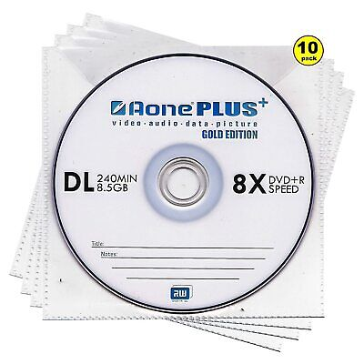 Aone Dual Layer DVD+R DL | Recordable Blank DVD Double Layer Discs In Sleeves  • 5.99£