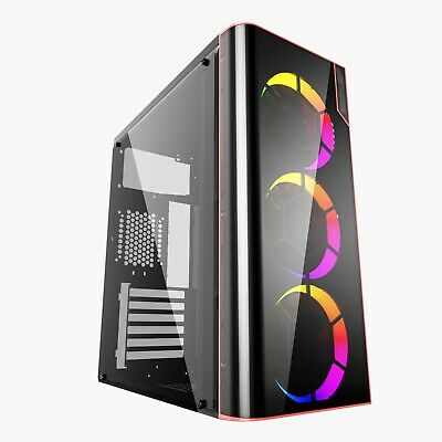 Ionz Kz14 Atx M/atx Pc Gaming Mid Tower Case With Usb 3.0 Black/red • 34.95£