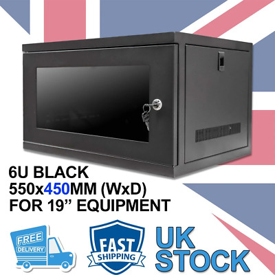 6U 19  450MM Network Cabinet Data Comms Wall Rack For Patch Panel, Switch, PDU • 54.99£