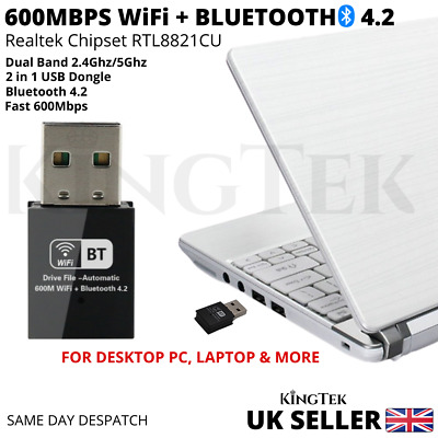 600Mbps WiFi Dongle And Bluetooth 4.2 | FOR PC & LAPTOP Dual Band USB Adaptor UK • 9.49£