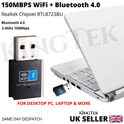 WiFi & Bluetooth 4.0 Dongle 150Mbps USB Wireless Adapter 802.11 B/G/N Laptop PC • 5.95£
