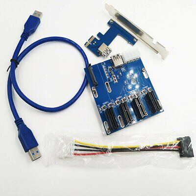 PCI-E 1X 1 To 4 Port HUB Riser Expansion Card Cable Adapter Multiplier  @UK** • 20.31£
