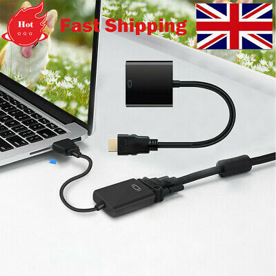 HDMI INPUT To VGA OUTPUT - HDMI To VGA Converter Adapter For PC DVD TV Monitor • 3.99£