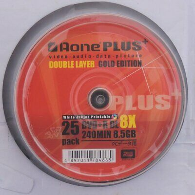 Aone Dual Layer DVD+R DL Printable Inkjet Recordable Blank DVD Discs In Sleeves  • 5.95£