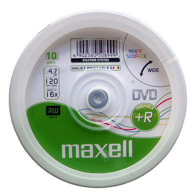 Maxell Printable DVD+R | Recordable Blank Discs Inkjet Sleeved 4.7GB/120Min/16x • 4.95£