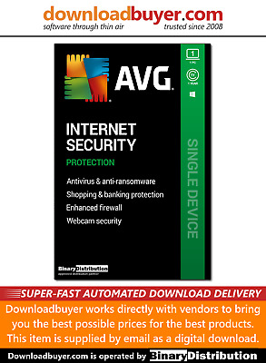 AVG Internet Security 2020 - 1 PC - 1 Year [Download] • 9.99£