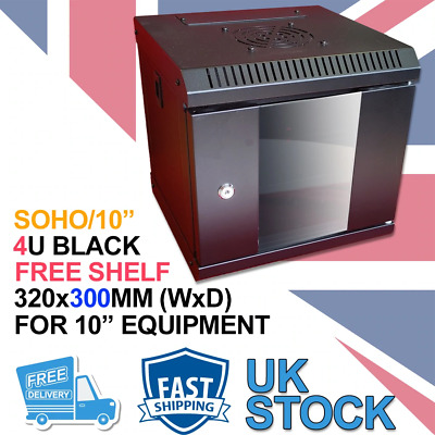 4U 300mm 10  Data Wall Cabinet (SoHo) - Black • 40.99£