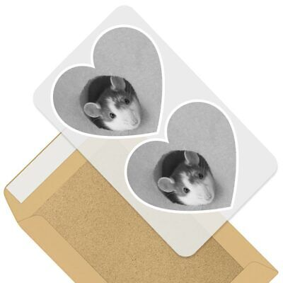 2 X Heart Stickers 7.5 Cm - BW - Funny Cheese Mouse Mice Rat  #42338 • 2.49£