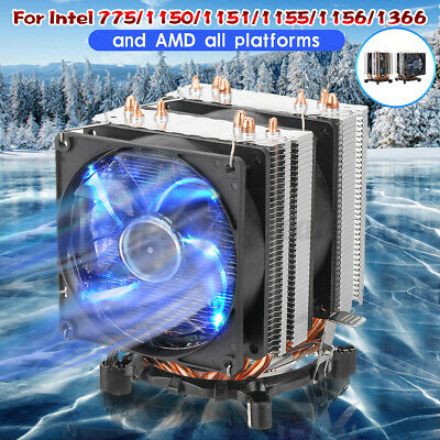 6 Pipes LED CPU Cooler Fan Heatsink For Intel 775/1150/1151/1155/1156/1366 UK о • 17.99£