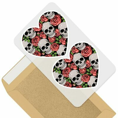 2 X Heart Stickers 7.5 Cm - Skull Red Roses Death Goth Pattern  #46308 • 2.49£