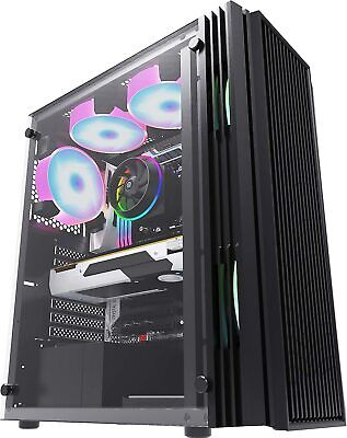 Pc Gaming Computer Case Atx Vented Mid Tower Tempered Glass - Usb 3.0 • 37.95£