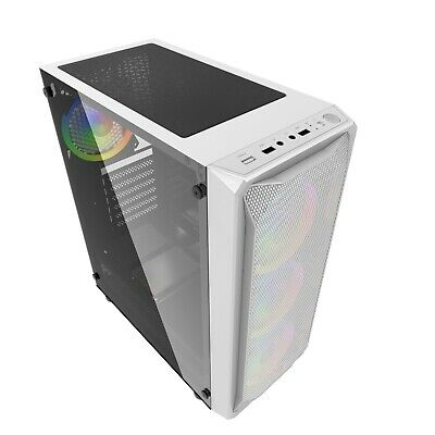 IONZ KZ10W  PC WHITE COMPUTER TOWER CASE TEMPERED GLASS ATX MICRO/ATX GAMING  • 27.95£