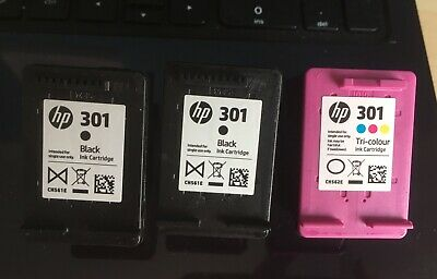HP 301 Black And Collur Cartridges X3 • 4.20£
