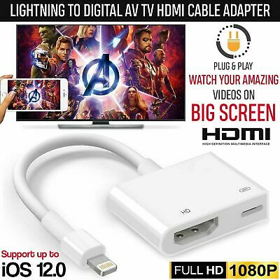 1080P Lightning To Digital AV TV HDMI Cable Adapter For I-Pad Air Aple I-Phone X • 7.89£