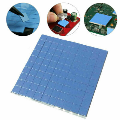 25PC 10x10x1mm GPU CPU Heatsink Cooling Thermal Conductive Blue Silicone Pads UK • 2.99£