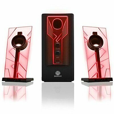 GOgroove BassPULSE 2.1 LED Satellite Stereo PC Computer Gaming Speakers - Red • 68.39£