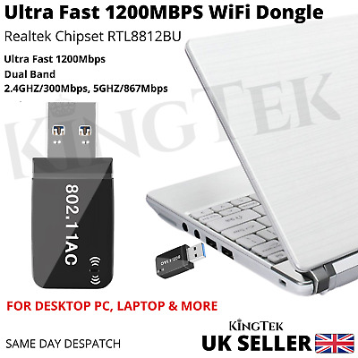 1200Mbps WiFi Dongle 2.4/5Ghz USB Dual Band Wireless Adapter 802.11 AC Laptop PC • 9.99£