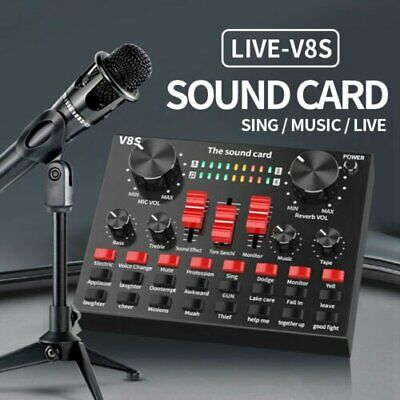 V8S External Sound Card USB Interface Microphone Mixer For Audio /Broadcast/Live • 19.89£