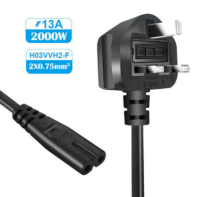 Power Cable Fig 8, C7 Mains Power Cord Lead UK Plug For Sony PS2 PS3 PS4 1.5m • 4.99£