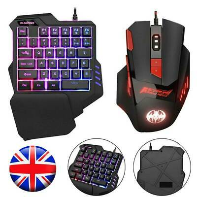 Mechanical Keyboard And Mouse Set Gaming Gamer LED Backlit For PS4 Xbox One UK • 14.79£