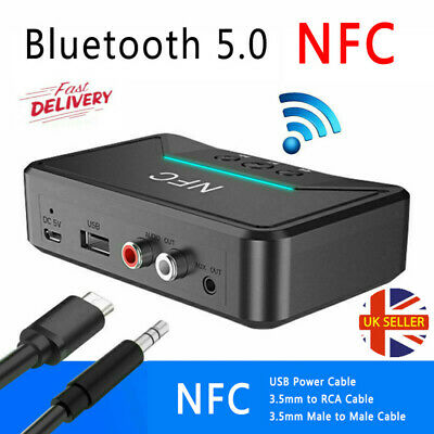 Bluetooth 5.0 Receiver Wireless 3.5mm Jack AUX NFC To 2RCA Audio Stereo Adapter~ • 9.99£
