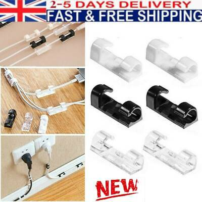 20pcs Cable Cord Clips Self-Adhesive Wire Clamp Table Wall Tidy Holder Organizer • 3.78£