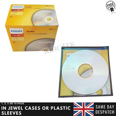 Philips CD-R Digital Audio | Blank Recordable CD Discs In Sleeves Or Jewel Cases • 11.95£