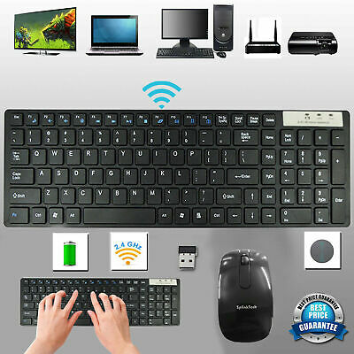 Slim 2.4G Wireless Keyboard And Cordless Optical Mouse Combo For PC Laptop Uk • 11.89£