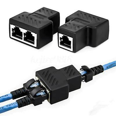 1 To 2 Ways RJ45 Splitter Adapter Dual Female Port CAT5/6/7 LAN Ethernet Cable • 3.20£