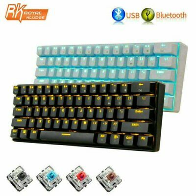 RK61 Wireless Bluetooth Wired Mechanical Keypad LED Backlight Gaming Keyboard • 31.89£