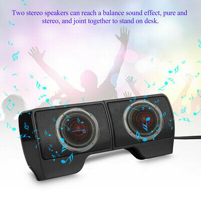 Speakers USB Clip-On Computer Sound Bar Stereo For Laptop Desktop PC Notebook • 8.29£