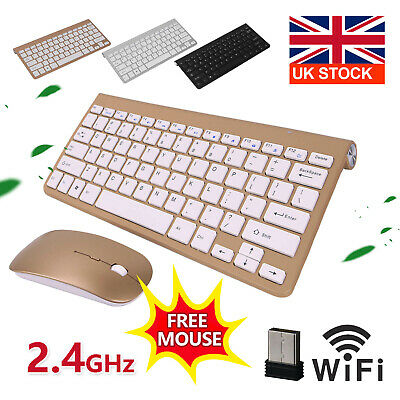 UltraSlim 2.4G Cordless Wireless Keyboard And Mouse Set For PC MAC Laptop Tablet • 13.99£