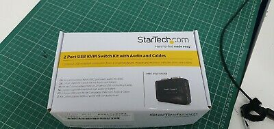 NEW! Startech 2 Port Black Usb Kvm Switch Kit With Audio And Cables  • 35£